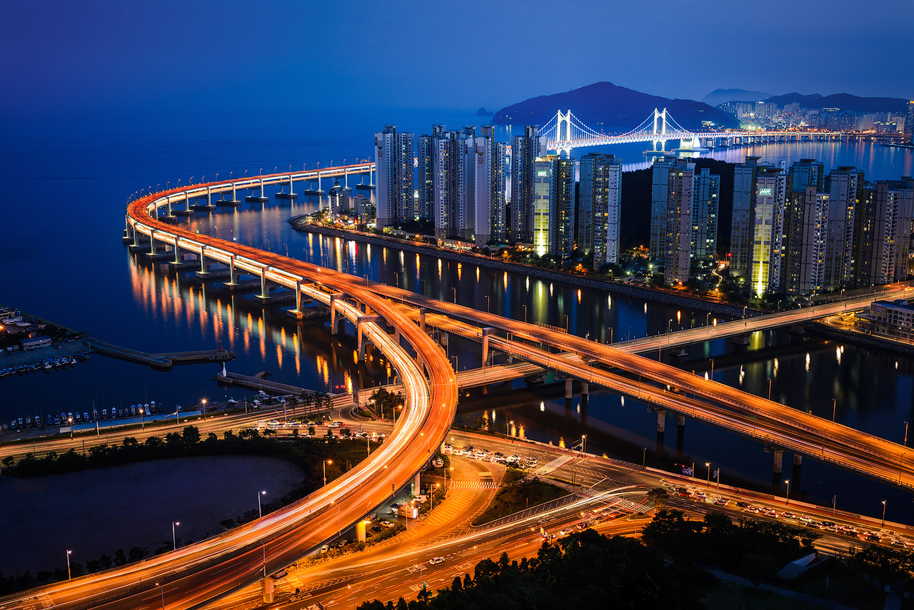 Busan, South Korea from above Centum City