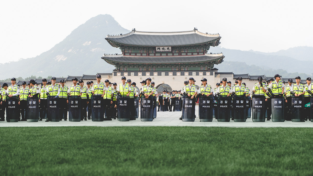 Police outside Gyeongbokgung Palace in Seoul
